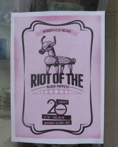 Affichette concert Riot of the black Puppets