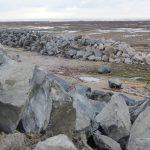 Digue des Doreaux, 30000 tonnes de cailloux