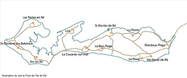 Carte de l'île de Ré - illustration du site internet Le Pont de l'île de Ré