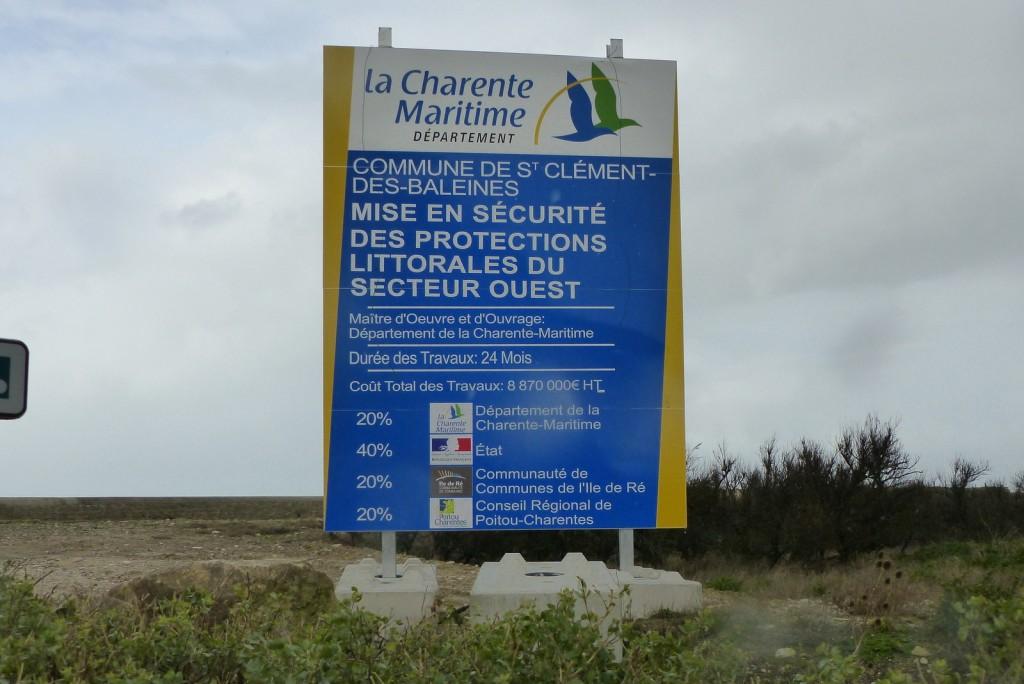 Saint-Clément des Baleines - Digue des Doreaux - Panneau travaux -  2 janvier 2016