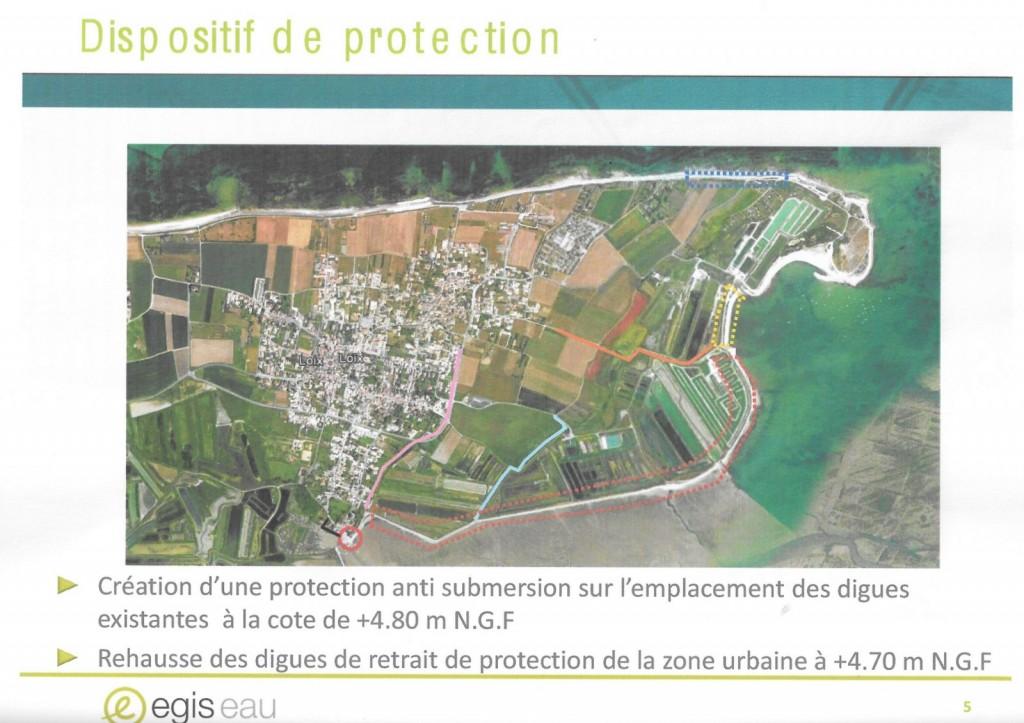 Digue de Loix - Carte du chantier - Source Egis Eau - mai 2014