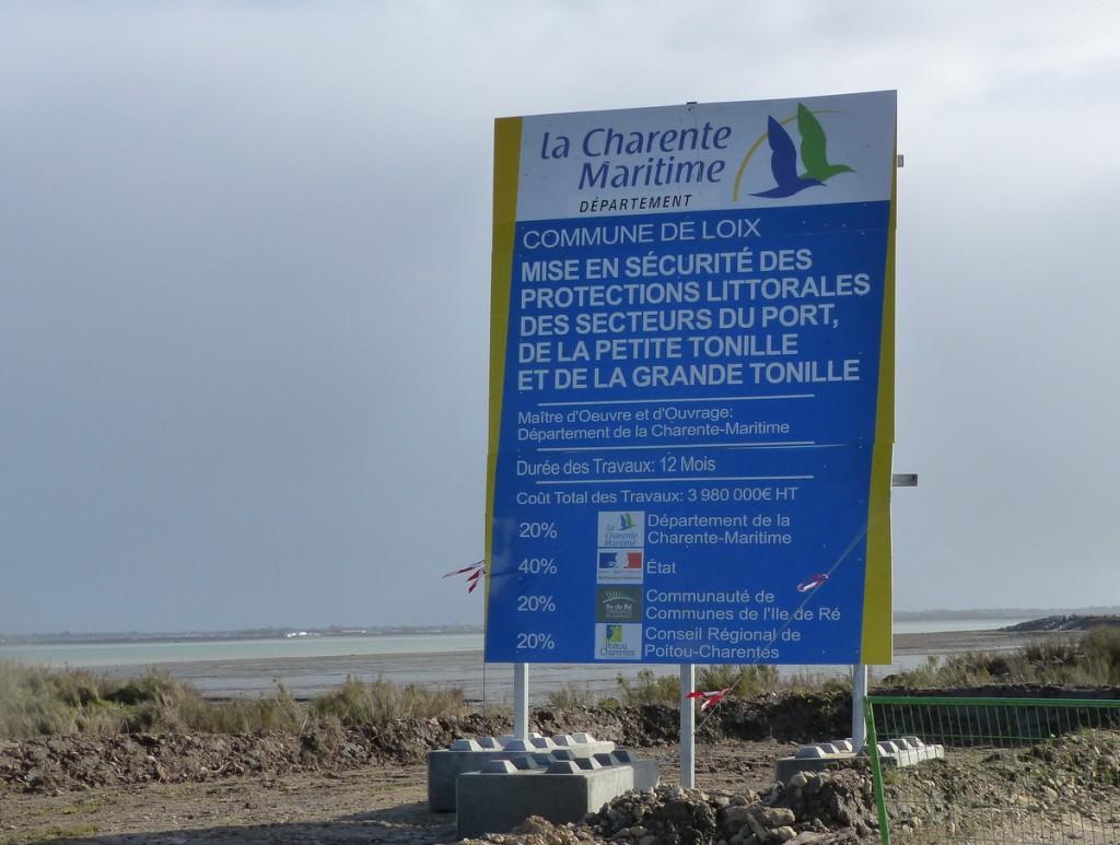 Chantier de Loix - Panneau Conseil départemental - 2 mars 2016