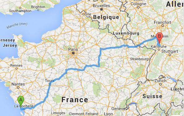 Via Michelin - Trajet Saint-Martin de Ré - Philippsburg
