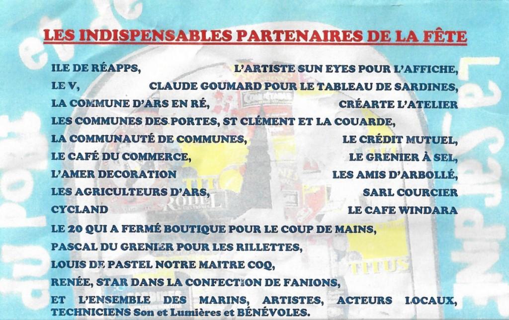 Ars-en-Ré - Fête de la Sardine 2016 - Partenaires