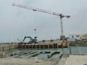 Port de La Flotte - Démontage batardeau - 30 mai 2016.