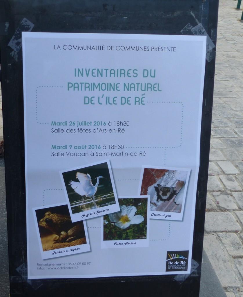 Affiche Inventaire du patrimoine naturel de l''île de Ré  - 26 juillet 2016