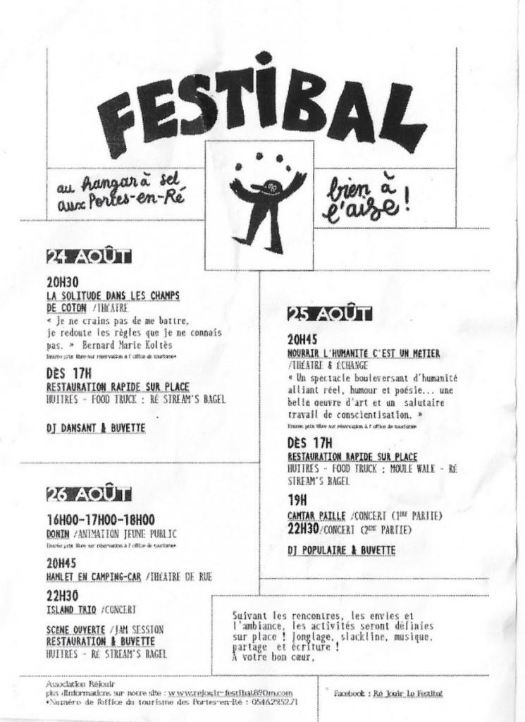 Programme Festibal - Les Portes 24 août 2016