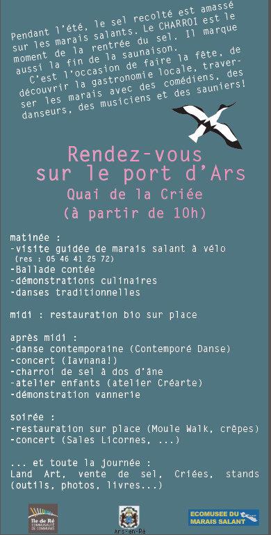 Flyer 3ème Fête du Sel - Ars-en-Ré - 17 septembre 2016