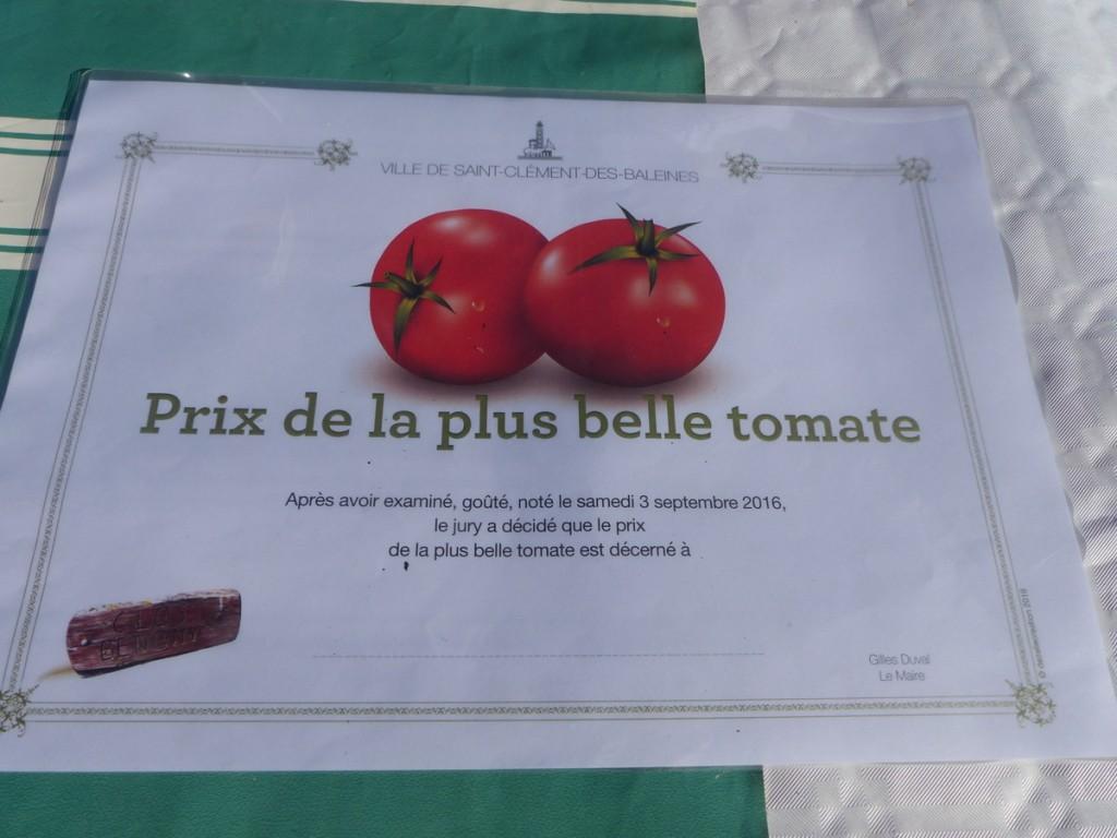 Saint-Clément des Baleines - Diplôme de la plus belle tomate - 3 septembre 2016