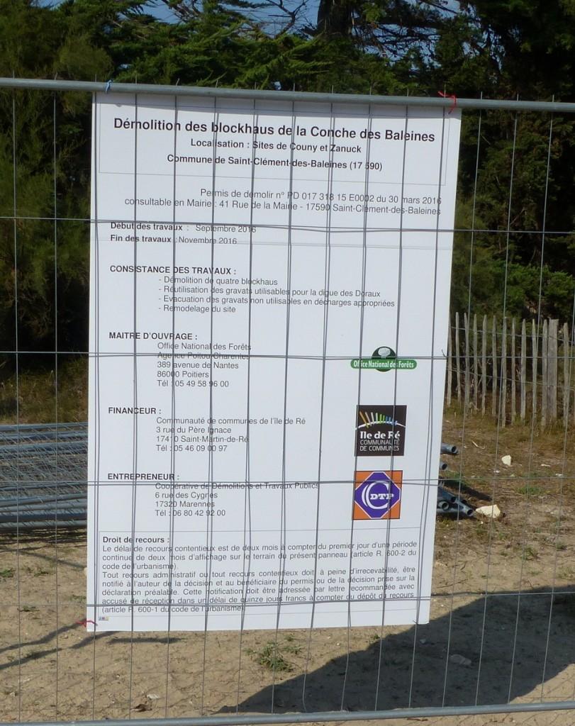 Saint-Clément des Baleines - Démolition 1er blockhaus - 20 septembre 2016