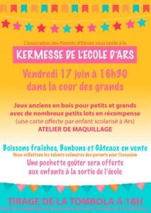 Affiche kermesse Ecole d'Ars - 17 juin 2016