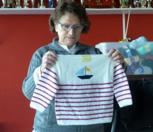 Pull marin des mamies tricoteuses des Amis d'Arbollé - Décembre 2016