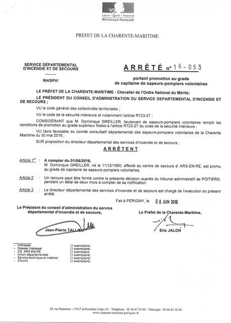 Arrêté préfectoral - Grade Dominique Greiller