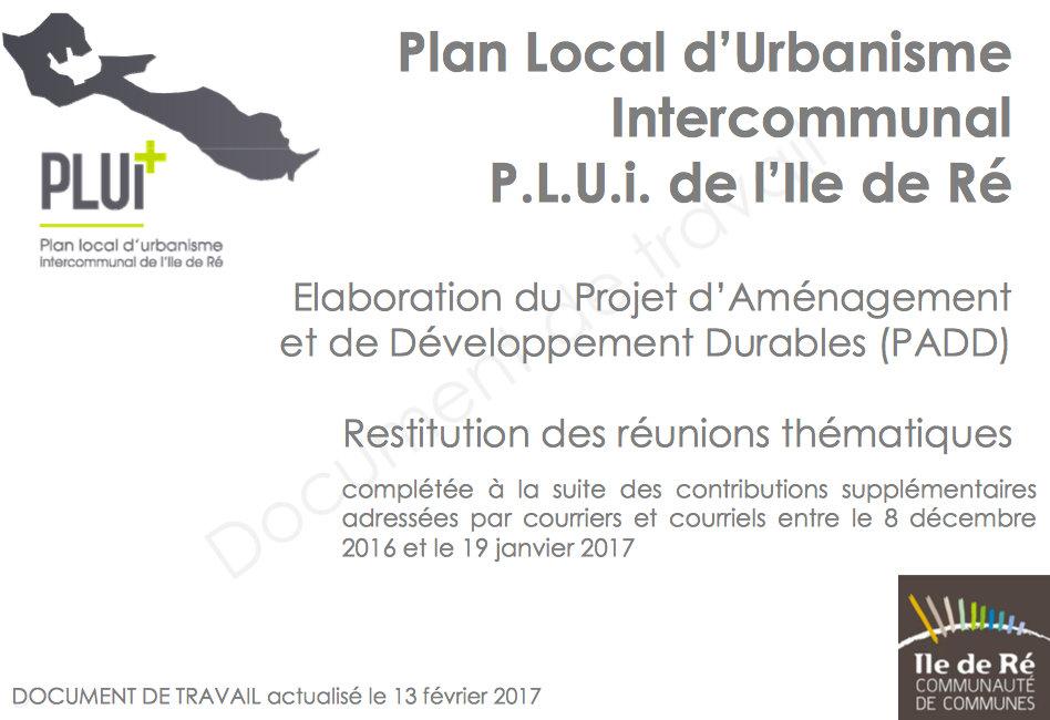 PlUi Ile de Ré - Restitution Ateliers thématiques
