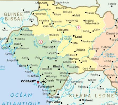 Carte de la Guinée - août 2017