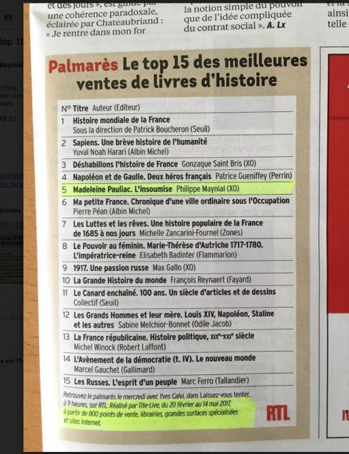 Madeleine Pauliac, l'insoumise - Top 15 ventes livres d'histoire