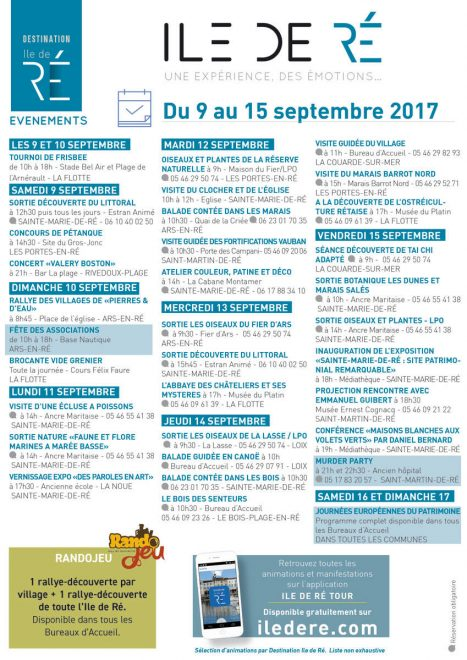Destination Ile de Ré - Affiche animations du 9 au 15 septembre 2017