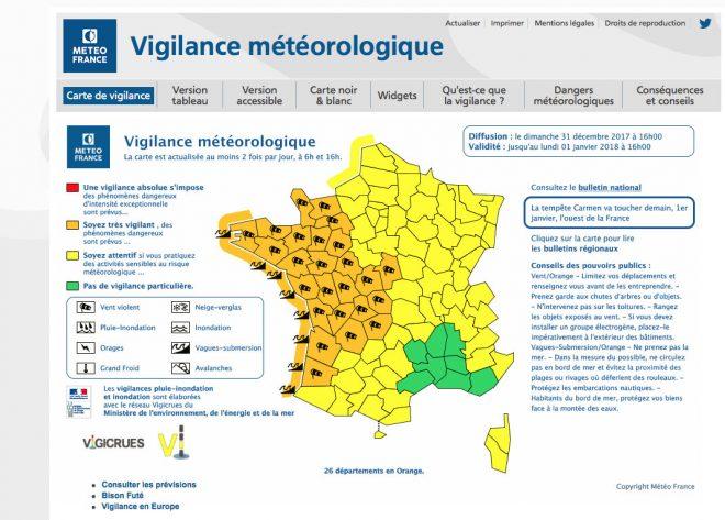 Tempête Carmen - Alerte météo - 31 décembre 2017