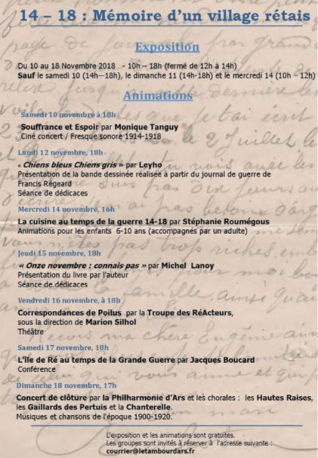 Ars-en-Ré - Flyer expo 14-18 - novembre 2018