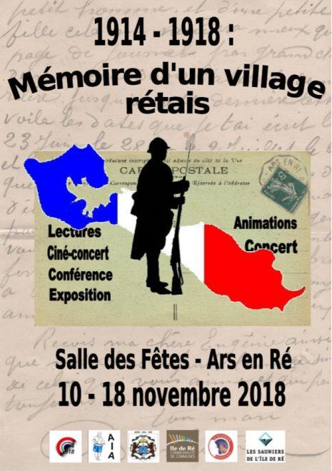 Ars-en-Ré - Affiche commémoration 14-18 - novembre 2018