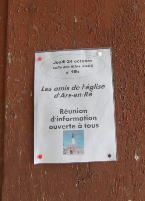 Ars - Affichette Asocaiton Amis de l'église - 24 octobre 2019
