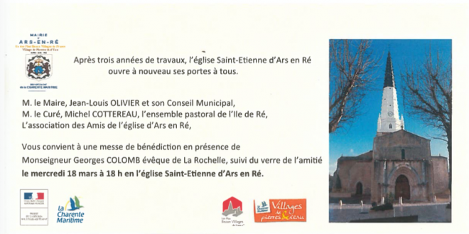 Ars - Eglise - Invitation inauguration église -