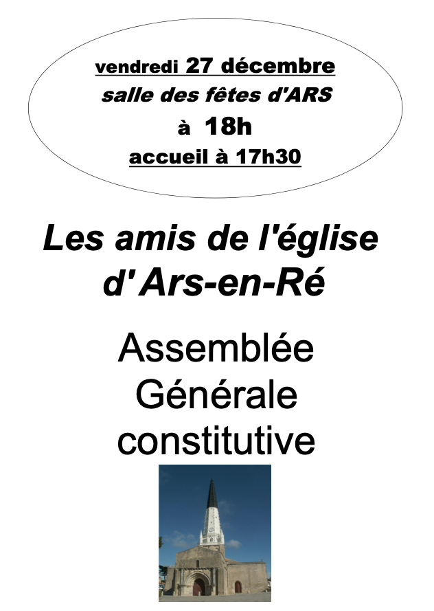 Ars - Affiche AG constitutive Amis de l'église - 27 décembre 2019