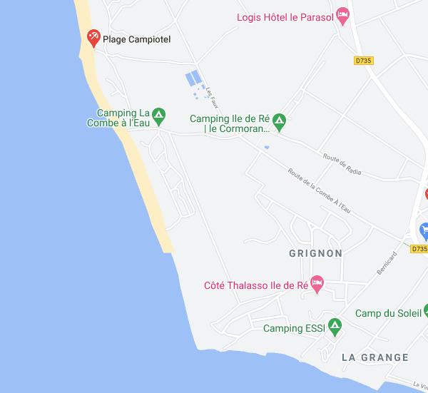 Carte des plages d'Ars-en-Ré - février 2021