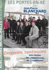 Les Portes-en-Ré -Tract de campagne liste Jean-Pierre Blanchard