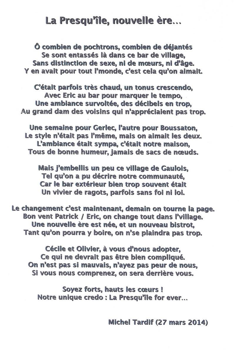 Poème de Michel Tardif
