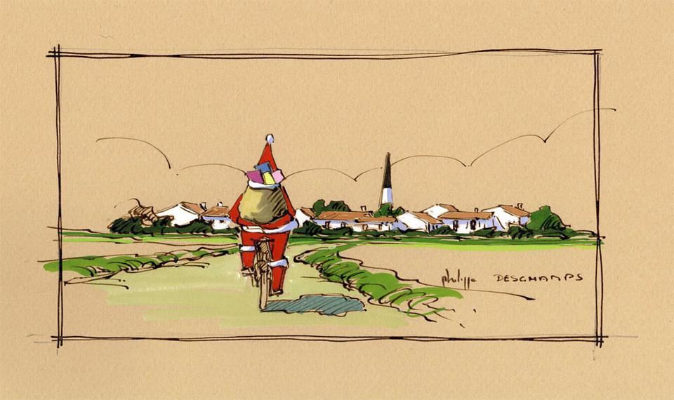Philippe Deschamps - Père Noël à vélo