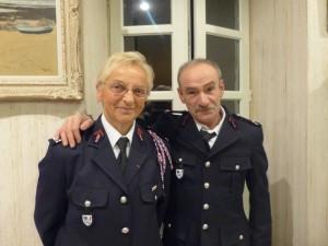 Pompiers Lieutenant honoraire Yvelise Lauberton et le Sergent honoraireClaude Neveur