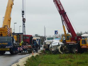 Camion toupie embourbé à Saint-Martin
