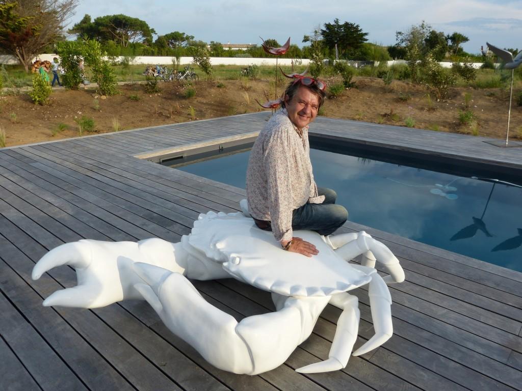 Bernard Frigière - Crabe blanc en résine