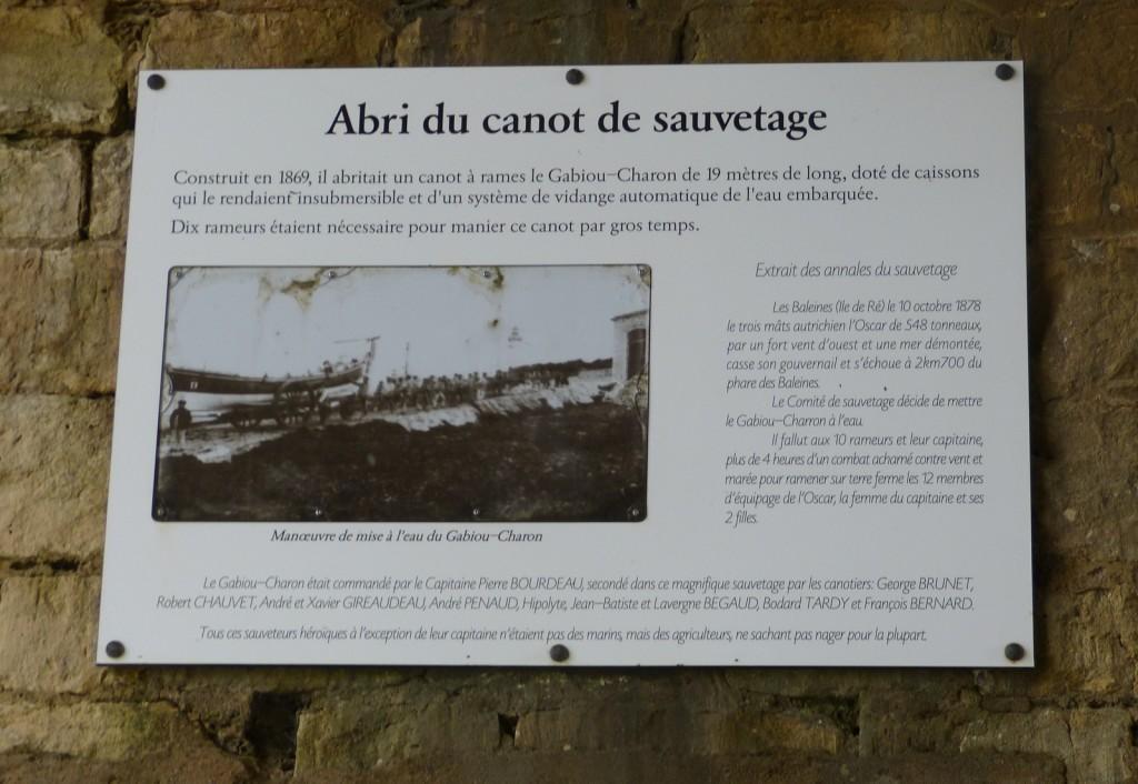 Plaque commémorative - Canot sauvetage de Saint-Clément des Baleines