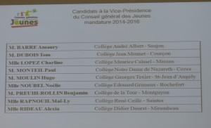Candidats à la vice-présidence du Conseil général Jeunes de la Charente-Maritime - 11 décembre 2014