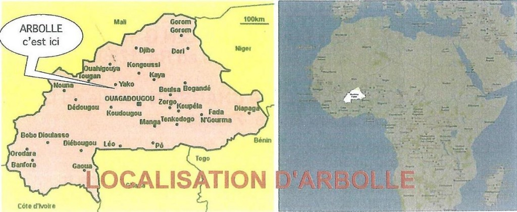 Localisation Arbollé Burkina Faso